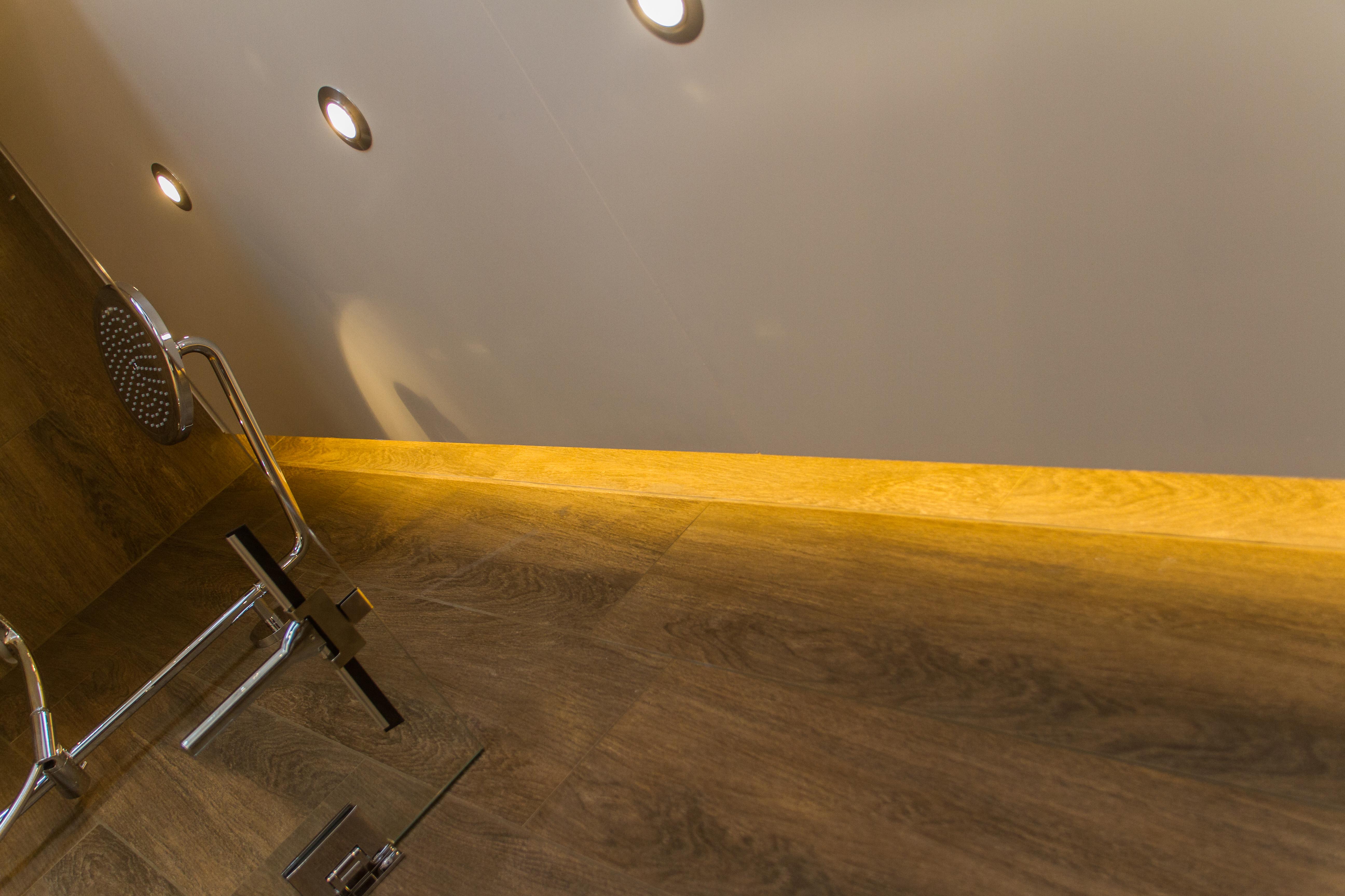 In tens groep plafond in de douche met indirecte led verlichting